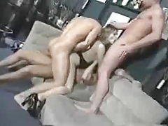 Blond with natural Boobs pulled 3 Men