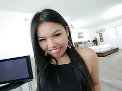 Vietnamese chick Cindy Starfall gives blowjob and gets fucked on a pov camera