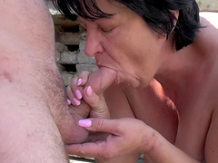Fat mature woman Alena Tomas bent over for a fuck