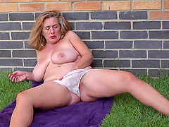 Solo outdoor masturbation and hot striptease european mature video