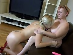 Impossibly spoiled granny is having fun with her lesbian friend on camera