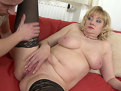 Blonde short haired amateur mature MILF Sandra G. found a hard cock