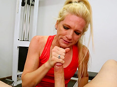 Mature blue eyed blonde Zosia gags and chokes on a huge dick