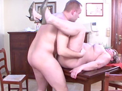 bbw mature Rose B. turns on a dude with a blowjob and sex on a desk