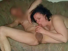 Girl blows and sucks the big cock of her fuck buddy
