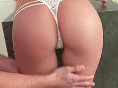Girlfriend Alexis Crystal drops on her knees to give head and gets fucked