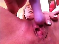 Zealous light haired amateur housewife flashed cunt while playing with toy