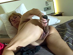 Aracely has a massive glass dildo up her pulsating gaping cunt