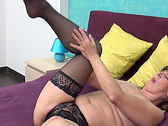 Elize seductively shading panties then fingering pussy