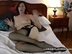 Spoiled milf in black stockings Lara gets a mouthful of cum