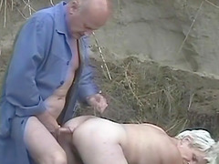 Granny Vivian has her face and beaver fucked outdoors