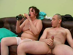 Undressing drunk Dora to taste and smash her mature twat