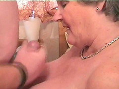 Creaming the saggy tits of the aged sugar he dicked passionately