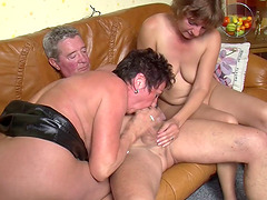 Horny housewives make a mature fellow's dream real