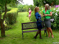 Horny ladies caught in camera in their weekly lesbian romance outdoors